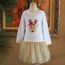 BONNIE JEAN Girls Christmas REINDEER Sequin Party Dress Size 8
