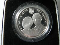 1981 Gibraltar Royal Wedding - 1 Crown Silver Proof In Original Display Box