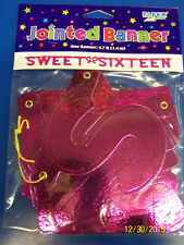 Sweet Sixteen 16 Pink 16th Birthday Party Decoration Jointed Letter Banner