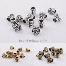 50pcs Tibetan Silver Cylinder Arabesquitic Charm Pendants Jewelry Findings