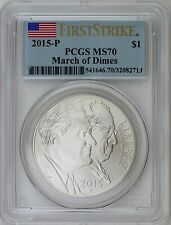 2015-P $1 March of Dimes Silver Commemorative PCGS MS70 First Strike Label