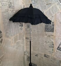 Antique Victorian mourning parasol, folding, childs, black silk