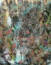 Modernist LARGE ABSTRACT PAINTING Expressionist GRAFFITI ART STREET TALK FOLTZ $