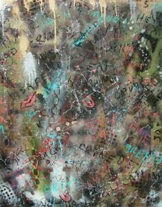 Modernist LARGE ABSTRACT PAINTING Expressionist GRAFFITI ART STREET TALK FOLTZ