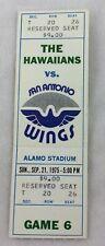 WFL 1975 09/21 The Hawaiians at San Antonio Wings Football Full Ticket