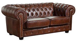 Max Winzer ~ Newport Chesterfield Sofa 2-Sitzer Leder braun