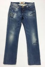 Take two peg jeans donna w29 tg 42 44 azzurro blu gamba dritta slim strappi T141