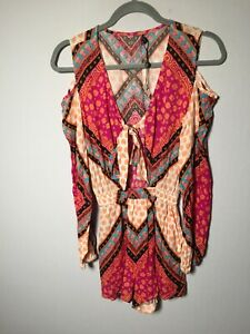 Unbranded womens boho geometric playsuit romper size XS cold shoulder sleeves