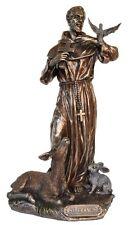 Veronese Bronze Figurine Religious St Francis of Assisi Saint Statue