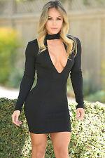 Abito nero aperto Nudo aderente Scollo Zip High Neck V Bodycon Dress clubwear M