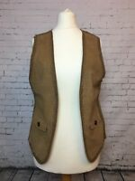 MASSIMO DUTTI Women's knit Suede Waistcoat Gilet - Size Large - 34