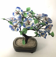 Vintage Glass Bonsai Jade Tree Asian Decor