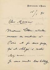 Lettera Autografo di Tommaso Tittoni Politico Ambasciatore Italiano Parigi 1911