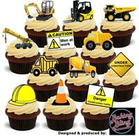 Novelty Diggers Construction Party Pack Mix Edible Cake Toppers Birthday Boys