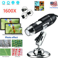 Pro 1600x Zoom 8-LED Microscope Digital Magnifier Endoscope Camera Video w/Stand