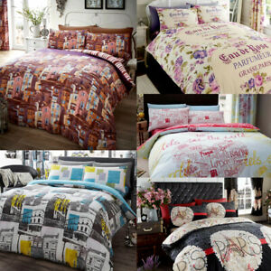 French Chic Paris Eiffel Tower Italy World Cities Duvet Quilt Cover Bedding Set