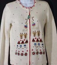 Christmas Cardigan Sweater Small 4/6 Full Zip White Snowman Reindeer Trees