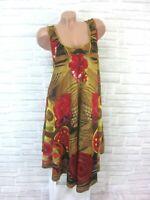 Sommerkleid Hängerchen Strand Kleid Tunika Blumen IBIZA 42 44 46 Beige 1567