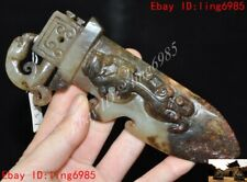 Chinese Natural Hetian old jade hand carved dragon beast statue weapon Pendant