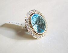 Lagos NEW 18K Gold & Silver Blue Topaz & 3.47ct Wht Sapphire Ring sz7 $3,200 Tag