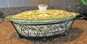 Temptations Old World Green Covered Oval Casserole DIsh & Rack