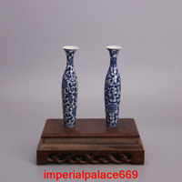 A pair China Ming Dynasty Wanli Year Blue and white Willow-shaped vase