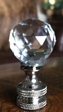 Lamp Finial Harp Topper  Clear Faceted Crystal Chrome Satin Base