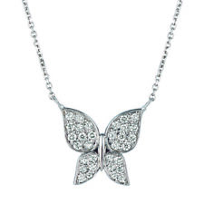 0.50 Carat Natural Diamond Butterfly Necklace 14K White Gold G SI  18'' chain