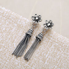 Women Jewelry 925 Sterling Silver Vintage Flower Long Tassel Drop Earrings