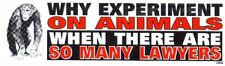 Why Experiment On Animals When There Are So Many Lawyers  Bumper Decal