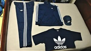 Adidas 2XL Originals Firebird Navy & White Tracksuit with matching T-Shirt & Hat