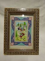 VINTAGE PERSIAN KHATAM INLAID MOSAIC FRAMED HAND PAINTED DECORATIVE PANEL