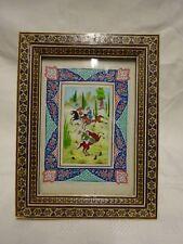 VINTAGE PERSIAN KHATAM INLAID MOSAIC FRAMED HAND PAINTED DECORATIVE PANEL