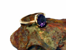 Oval AMETHYST  9 Caratt  Gold  Gemstone  RING   -  Size : N -  UK Hallmark