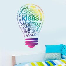 Idea Light Bulb Wall Sticker Creative Color Quote Home Room Decal Office Work