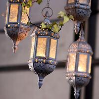 Xmas Metal Hanging Candle Lantern Holder Moroccan Chandelier Retro Vintage Decor