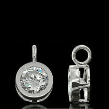 925 Sterling Silver Round Drop Pendant Charm with Clear CZ #65489