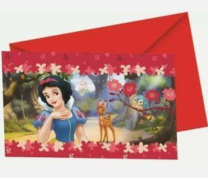 Disney Snow White Birthday Party Invitations kids party .6 Cards & Envelopes