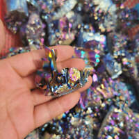 15g Natural Rainbow Aura Titanium Quartz Crystal Cluster VUG Gemstone Rock Reiki