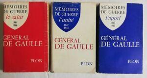 Lot de 3 livres, mémoires de guerre, général de Gaulle, Plon 1954