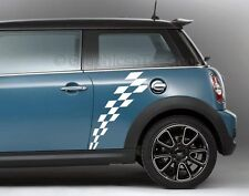 Mini Cooper Car Sticker Racing Checker Flag Side Stripe Vinyl Graphic Decal