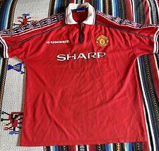 MANCHESTER UNITED 1999 SHARP Vintage UMBRO Treble Shirt 1998 2000 MAN UTD XL
