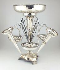 Edwardian Electroplated EPNS Epergne Floral Trumpets Candy Bonbon Baskets N969