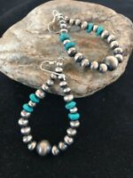 Native American Sterling Silver Navajo Pearls Turquoise Bead Earrings Gift