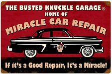 Busted Knuckle Garage Miracle Riparazione Auto Arrugginito Acciaio Insegna 460mm x 300mm (PST)