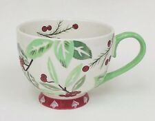 Dutch Wax Holly Hollies Christmas Hand Painted Fotted Mug Cup Red Green