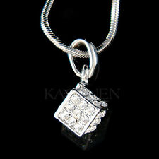w Swarovski Crystal ~3D Cube Cubic Square Celebrity Jewelry Charm Chain Necklace