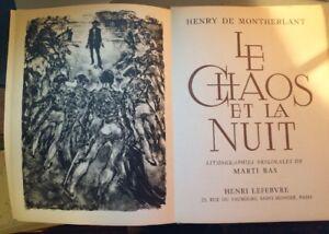 MARTI BAS. LITHOS ORIGINALES POUR LE CHAOS ET LA NUIT DE MONTHERLANT, 1963.