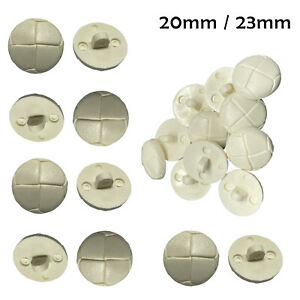 Leather Look White Plastic Buttons Football Style Shank Round Buttons 20/23mm