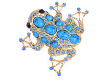 Sapphire Crystal & Bead Embedded Golden Frog Toad Costume Jewelry Pin Brooch